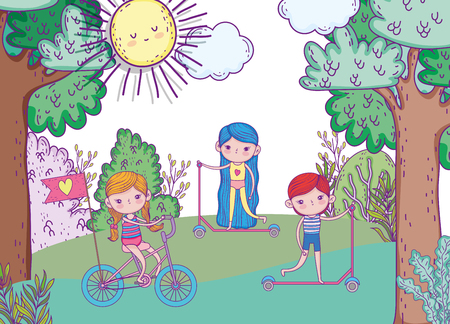 girls and boy playing and ride bicycle and scooter vector illustration