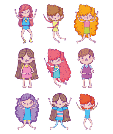set beauty girls and cute boy with hairstyle vector illustration