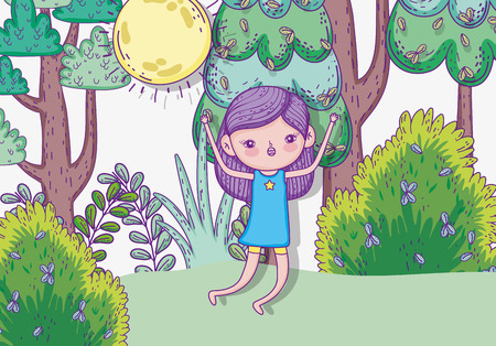 cute girl jumping with bushes and sun vector illustration Иллюстрация