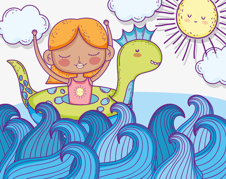 girl with dinosaur float in the sea waves vector illustration Фото со стока - 124611259
