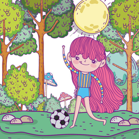 cute girl play soccer with ball vector illustration Фото со стока - 124611262