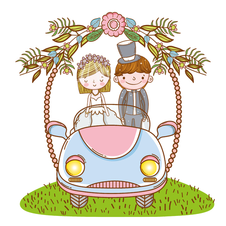 woman and man wedding in the car with flowers plants vector illustration