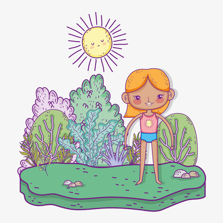 cute girl wearing swimsuit with sun and trees vector illustration