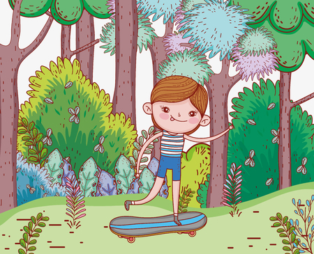 cute boy ride skateboards with trees vector illustration