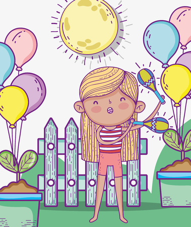 beauty girl play maracas with balloons vector illustration
