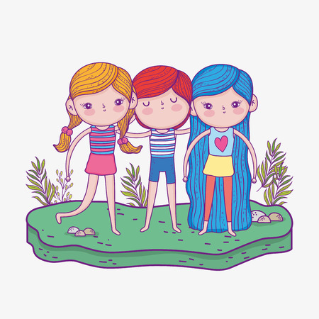 cute girls and boy with hairstyle and plants vector illustration Фото со стока - 124611271