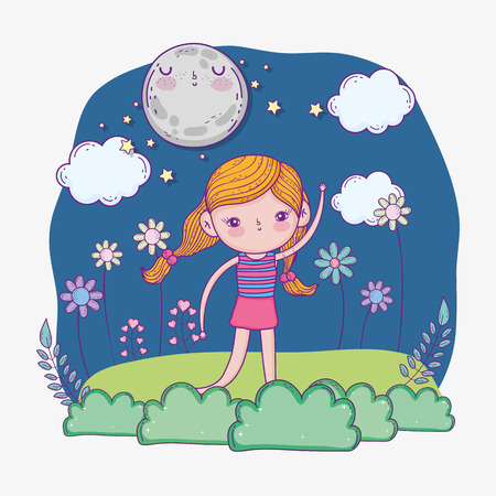 cute girl with moon and bushes plants vector illustration