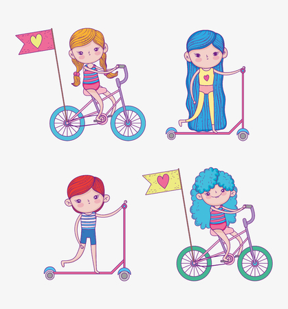 set girls and boy ride scooter and bicycle vector illustration