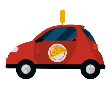 Entrega icono de coche de pizza aislado ilustración vectorial diseño gráfico