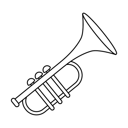 music instrument trumpet cartoon vector illustration graphic design Imagens - 124572199