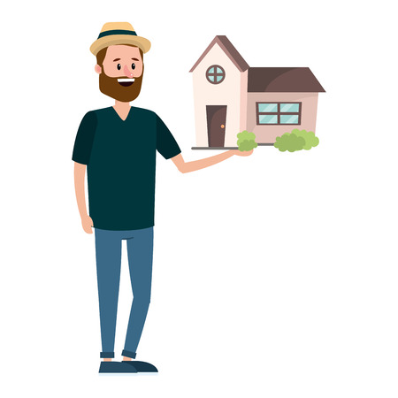real estate man looking for house to buy cartoon vector illustration graphic design Vektorové ilustrace