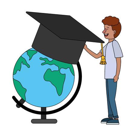 education man with world map cartoon vector illustration graphic design