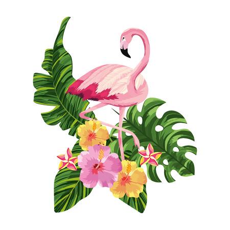 tropical flamingo over flowers cartoon vector illustration graphic design