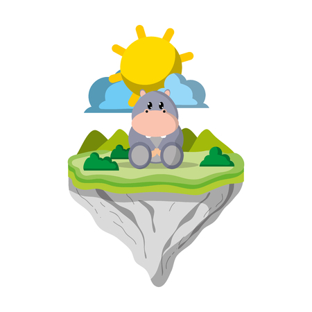cute hippopotamus animal in float island vector illustration 일러스트
