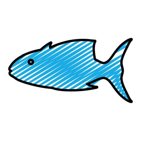 doodle tropical tuna fish nature animal vector illustration