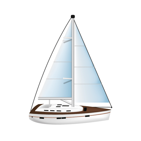 wood sailboat sea transport direction vector illustration Archivio Fotografico - 124573298