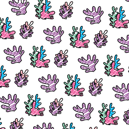 doodle exotic seaweed nature plant background vector illustration