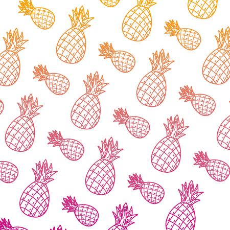 degraded line delicious pineapple fresh fruit background vector illustration