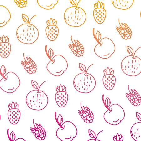 degraded line delicious fresh fruits nutrition background vector illustration