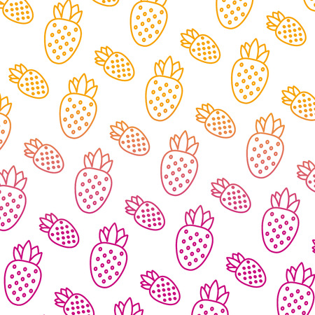 degraded line delicious strawberry fresh fruit background vector illustration