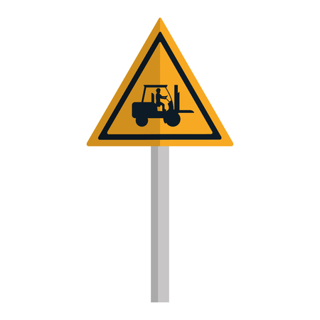 triangle caution emblem and laborer with forklift Ilustração