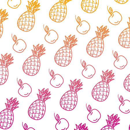 degraded line delicious pineapple and apple fruits background vector illustration Ilustrace