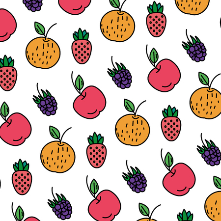 color delicious fresh fruits nutrition background vector illustration