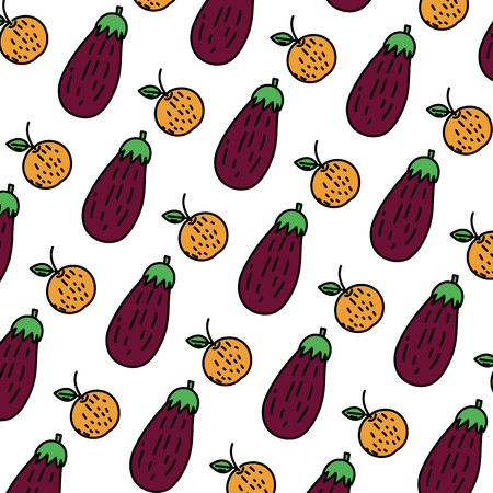 color orange fruit and eggplant vegetable background vector illustration Ilustrace