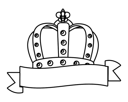 bejeweled crown and ribbon vector illustration graphic design Illustration