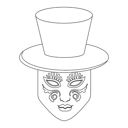 top hat with mask vector illustration graphic design