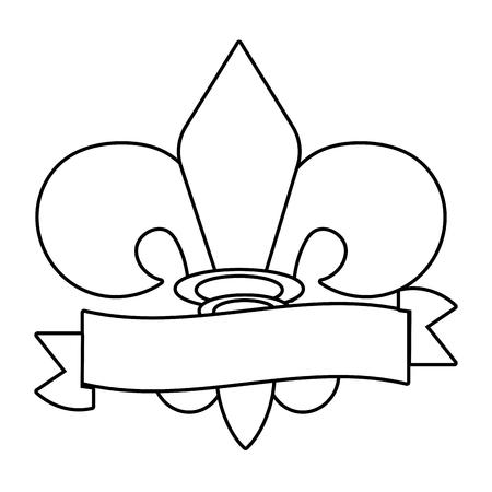 fleur de lis symbol with ribbon vector illustration graphic design Illustration