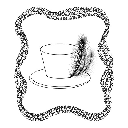 top hat with beads vector illustration graphic design Illustration