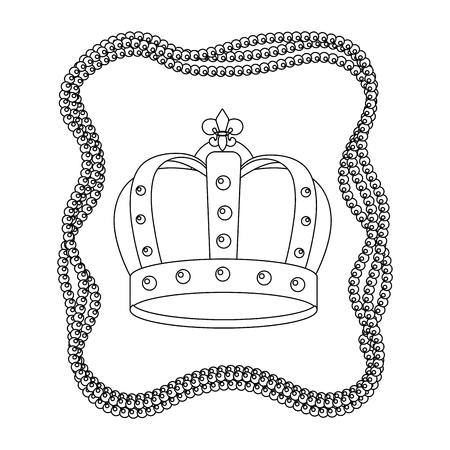 bejeweled crown with beads vector illustration graphic design