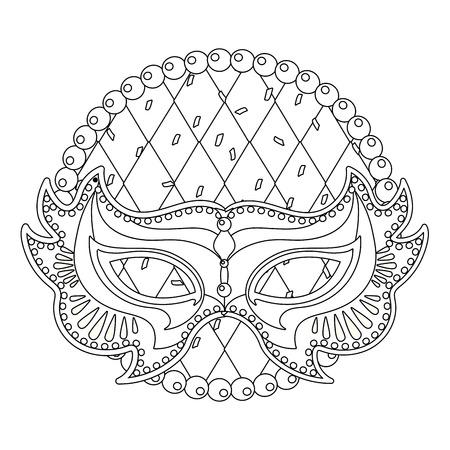mask and beads mardi gras vector illustration graphic design Illustration