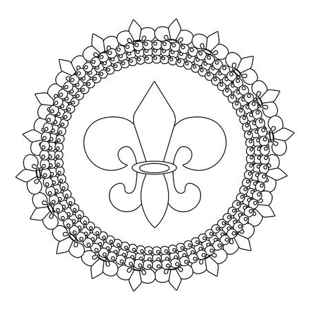 fleur de lis symbol with beads round icon vector illustration graphic design Illustration