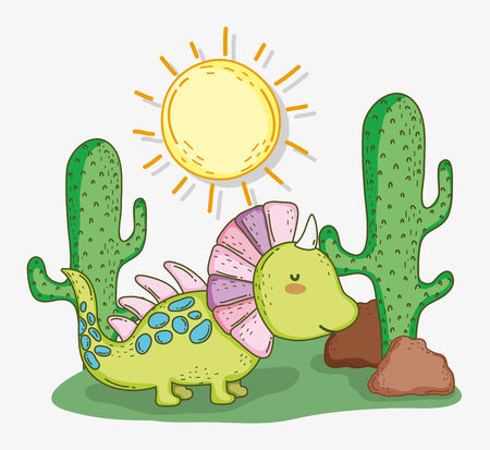 cute styracosaurus animal with cactus and sun vector illustration Illustration