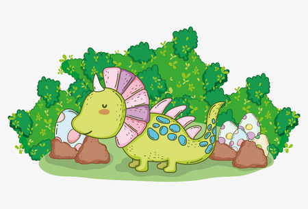 cute styracosaurus with dino eggs in the bushes vector illustration