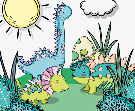 cute styracosaurus with ankylosaurus and diplodocus animals Illustration