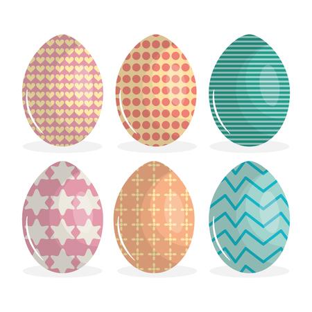 eggs painted happy easter vector illustration design Vetores