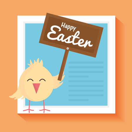 little chick easter with wooden label character vector illustration design