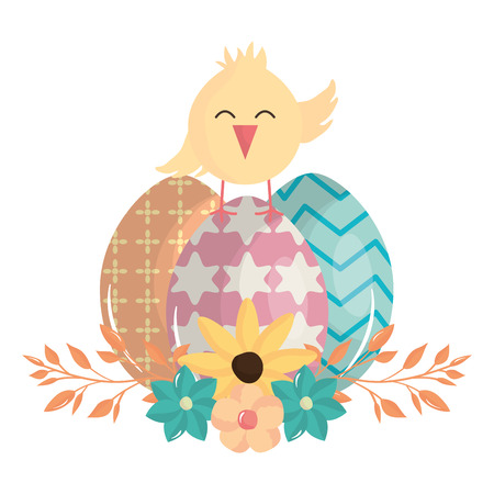 little chick with eggs painted easter character vector illustration design