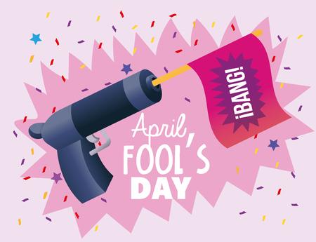 pistola divertida con bandera a la ilustración de vector de día de los tontos