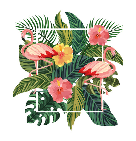 frame with flamingos and tropical flowers with leaves vector illustration
