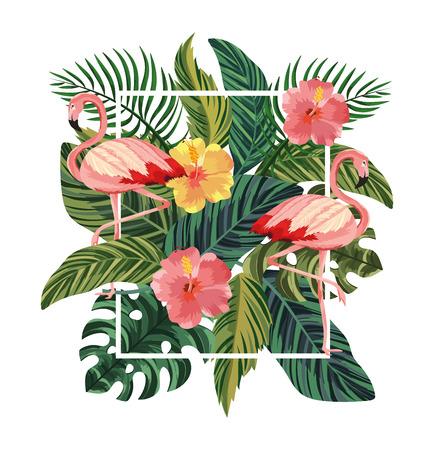 marco con flamencos y flores tropicales con hojas ilustración vectorial