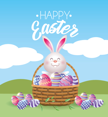 happy rabbit with easter eggs inside basket vector illustration