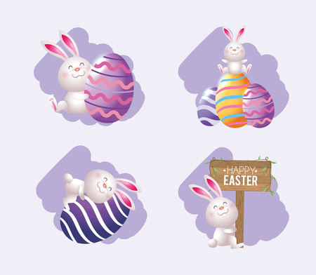set easter rabbit with eggs decoration and emblem vector illustration