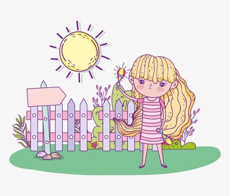beauty girl play maracas with sun vector illustration Ilustração