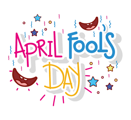 smiles with stars to april fools day vector illustration Illustration