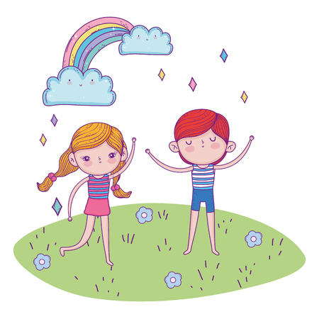 girl and boy playing in the landscape with rainbow vector illustration