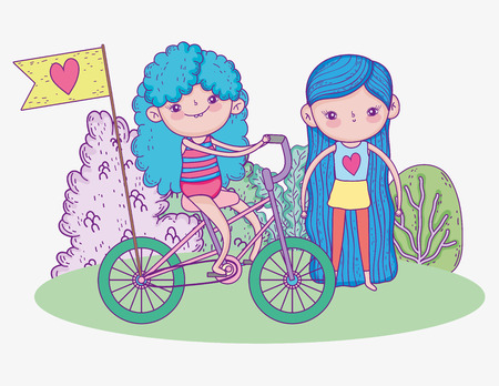 cute girls ride bicycle with trees vector illustration